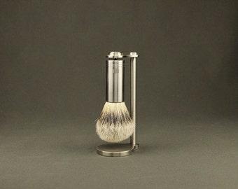 Magnetic Brush Stand & Brush with Stainless Steel Handle, Magnetic Shaving Stand, Wet Shaving Brush Stand, groomsmen gift, shaving gift