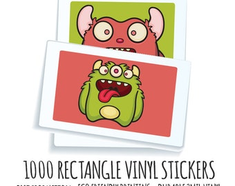 Wholesale Stickers- 1000 Custom Vinyl Rectangle Stickers - Waterproof