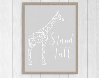 Nursery Decoration - Printable Stand Tall Giraffe Wall Art - Light Gray and White - 8x10 - 16x20 - 8.5x11 -