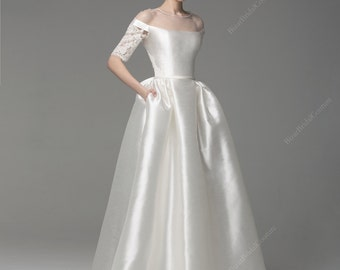 Charm Wedding Dress, Unique Wedding Gown, 3/4 Sleeves wedding dress, Bridal gown, Aristocratic Wedding dress