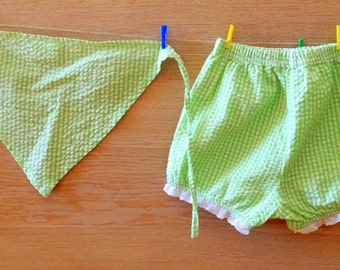 vintage baby bloomers green baby bandana green raffled bloomers baby girl outfit waffle cotton vintage 70s size 18m