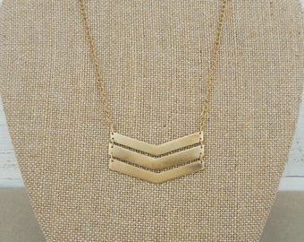 Triple chevron necklace - 14K gold-plated - bohemian boho gifts for her