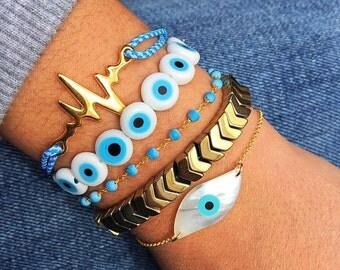 Gold Evil Eye Bracelet, Evil Eye Charm, Evil Eye Jewelry, Pulse Bracelet, Rosary Bracelet, Turquoise Rosary Bracelet, Arrows Bracelet.