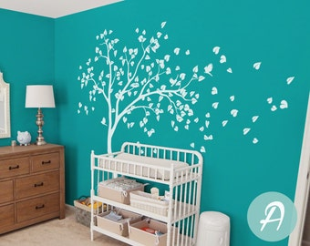 Large white tree wall sticker White tree decal Wall mural sticker Large wall decal for nursery Tree and birds wall decal for nursery -AM022