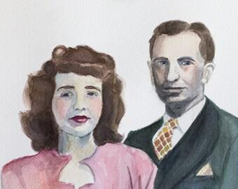 Custom Watercolor Portrait - Couple