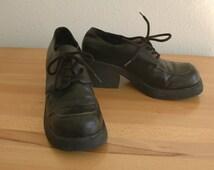 90s Esprit Chunky Black Platform Heels Vegan Leather Size 8.5 or 9