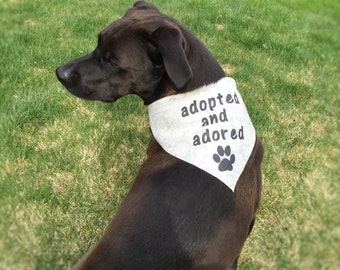 Dog Bandana - Rescue, Adopted and Adored, Customizable