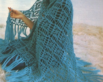 Womens Shawl Crochet Pattern : PDF Crochet Pattern . Crochet Wrap . Instant Digital Download