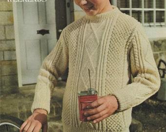 Childrens Aran Style Sweater PDF Knitting Pattern : Boy or Girl 30, 32 & 34 inch chest . Jumper . DK Yarn . Instant Digital Download