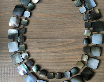 Black Lip mother of pearl two strands necklace