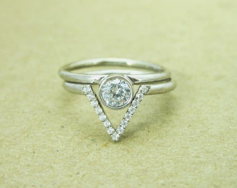 Diamond Engagement Ring Set, Triangle White Gold Engagement Diamond Ring, Stacking Diamond Engagement Ring, Alternative Diamond Ring Set