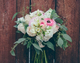 "DIY Wedding Flower Package ""Pretty in Pink""- Rustic Wedding- Blush Wedding - Fresh Wedding Flowers- DIY Bridal Bouquet"