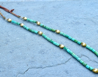 American Turquoise with Gold Oval Beads and Deerskin