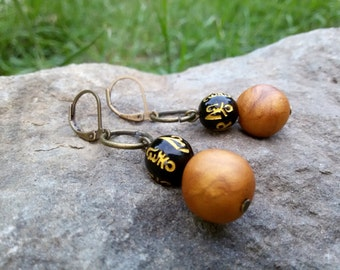 Zen earrings Om Mantra jewelry Yoga earrings Meditation bead earrings Buddhist Zen jewelry Om Mani Padme Hum earrings Yoga gift for her