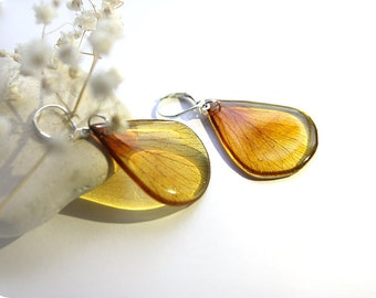Yellow petal earrings • Flower jewelry • Boho nature earrings • Transparent jewelry • Gift for her sister wife nephew • Blooming jewelry