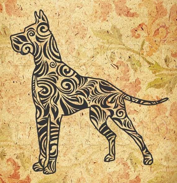 Zentangle Great Dane Svg Dogdxf Png Eps Cdr Print And