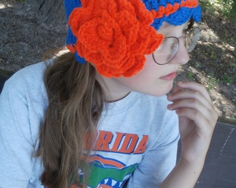 Ready to Ship -  Gators Crocheted Blue Hat with Orange Stripe and Crocodile Stitch Flower