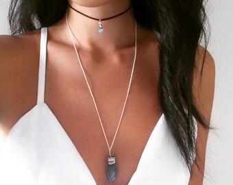 Kyanite Crystal / Swarovski Charm Double Layered Choker / Necklace