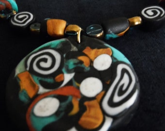 Handcrafted Polymer Clay Pendant Necklace