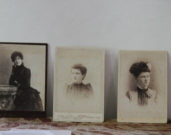 Victorian Ladies Cabinet Cards Antique Sepia Photography Vintage Photos , Lot of 3