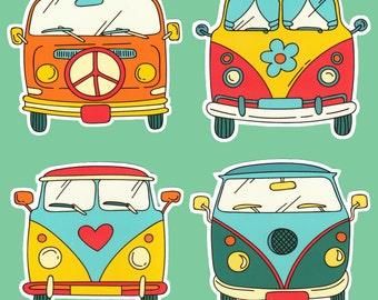 Hippie Van Vinyl Sticker Decal Retro Trippy Peace Sign Flower Heart