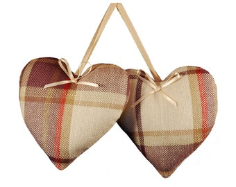 Padded Hanging Hearts - Laura Ashley Highland check grape fabric