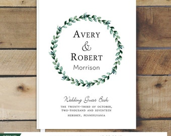 Wedding Guest Book, Custom Guestbook, Green Foliage, Green Leaves Guest Book, Personalized Wedding Guest Book, 8x10 Guestbook Keepsake