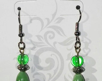 Green and silver beaded dangle drop earrings