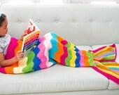 CUSTOM LISTING - JUSTINE - Rainbow Kids Mermaid Crochet Tail Blanket