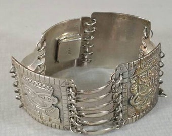Mexican Silver Braclet Aztec style