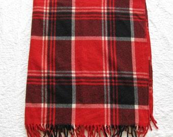 Vintage Wool Blanket Throw  Red Black  57 X 50
