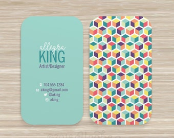 Square, Geometric, Cube, Business Card, Designer, Artist, Vistaprint, 3.5 x 2