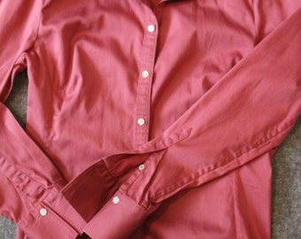 pink, fitted blouse / vintage, banana republic blouse