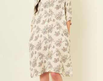 Floral Print Linen Shirt Dress with Button Plaket and Side Pockets in Beige