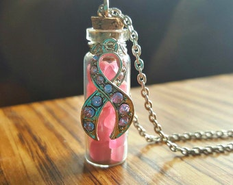 Breast Cancer Awareness Necklace/Pink Breast Cancer Pendant/Pink Glass Vile Necklace