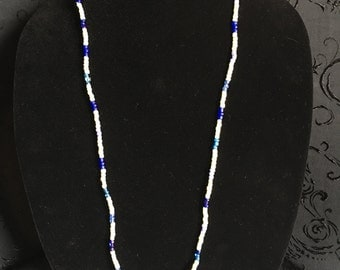 Gorgeous blue and beige beaded lanyard