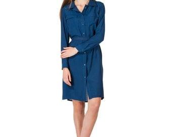 Preppy Dress, Button Down Dress, Shirt Dress, Summer Midi Dress, Collar Dress, Loose Fit Dress, Retro Dress, Pocket Dress, Everyday Dress