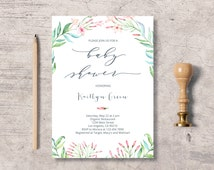 Botanical Floral Baby Shower Invitation Printable, watercolor flowers baby shower invite, instant download editable pdf, wreath branch