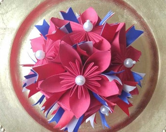 Patriotic Americana Fourth of July Ornament, Red White Blue Paper Flower Ball Origami Kusudama Fireworks
