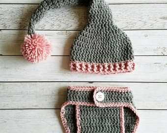 Crochet Long Tail Elf Baby Set, Sleepy Baby Set, Elf Baby Set, Elf Hat, Crochet Elf Hat, Photo Prop Baby Set, Long Tail Elf Hat