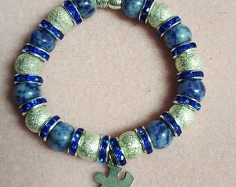 Puzzle Piece Charm Beaded Bracelet