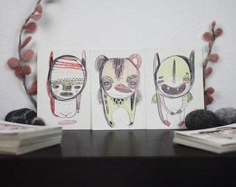 RANDOM original handdrawn Monster Postcard