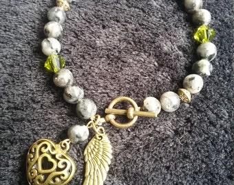 Grey Larvikite gemstone and genuine Swarovski crystal bracelet
