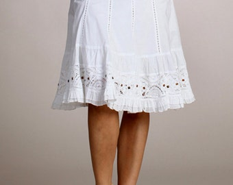 Cotton White Skirt With Studs