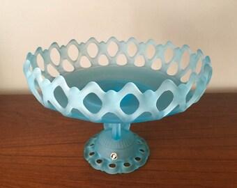 Westmoreland Doric Lace Light Blue Satin Console Pedestal Bowl 1950s Vintage