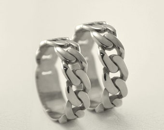 Unique silver wedding bands, Wedding rings chain, Matching silver rings, Modern silver wedding bands, Wedding rings silver, Band his and her