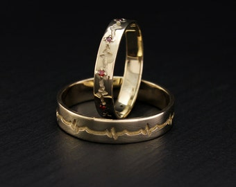 Heartbeat wedding bands, His and hers band, Couple promise rings, Heartbeat rings, Matching bands, Unique wedding bands, Gold wedding rings