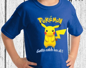 FREE SHIPPING Pokemon Youth Shirt- Pikachu Youth Shirt - Pikachu Shirt - Pokemon Shirt - Pokemon Shirt for Youth