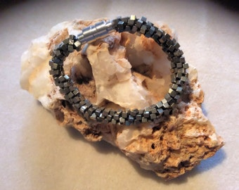 """Pyrite bracelet for men - length 8 3/4"""""""