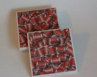 Football Ceramic Tile Coaster Set
